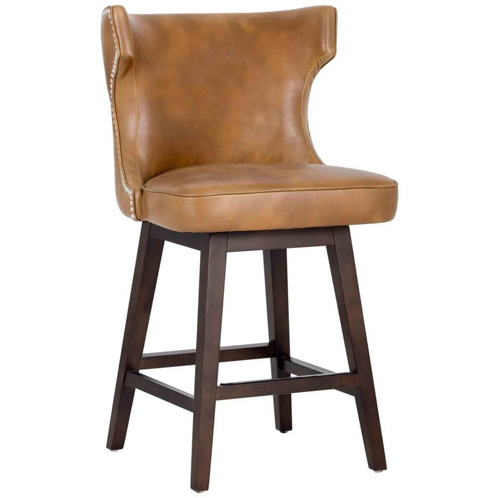Neville Swivel Counter Stool, Tobacco Tan - Furniture - Dining - High Fashion Home