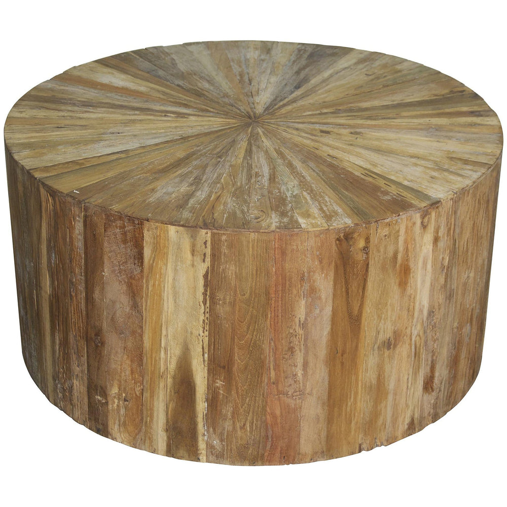 Round Teak Wood Coffee Table - Furniture - Noir