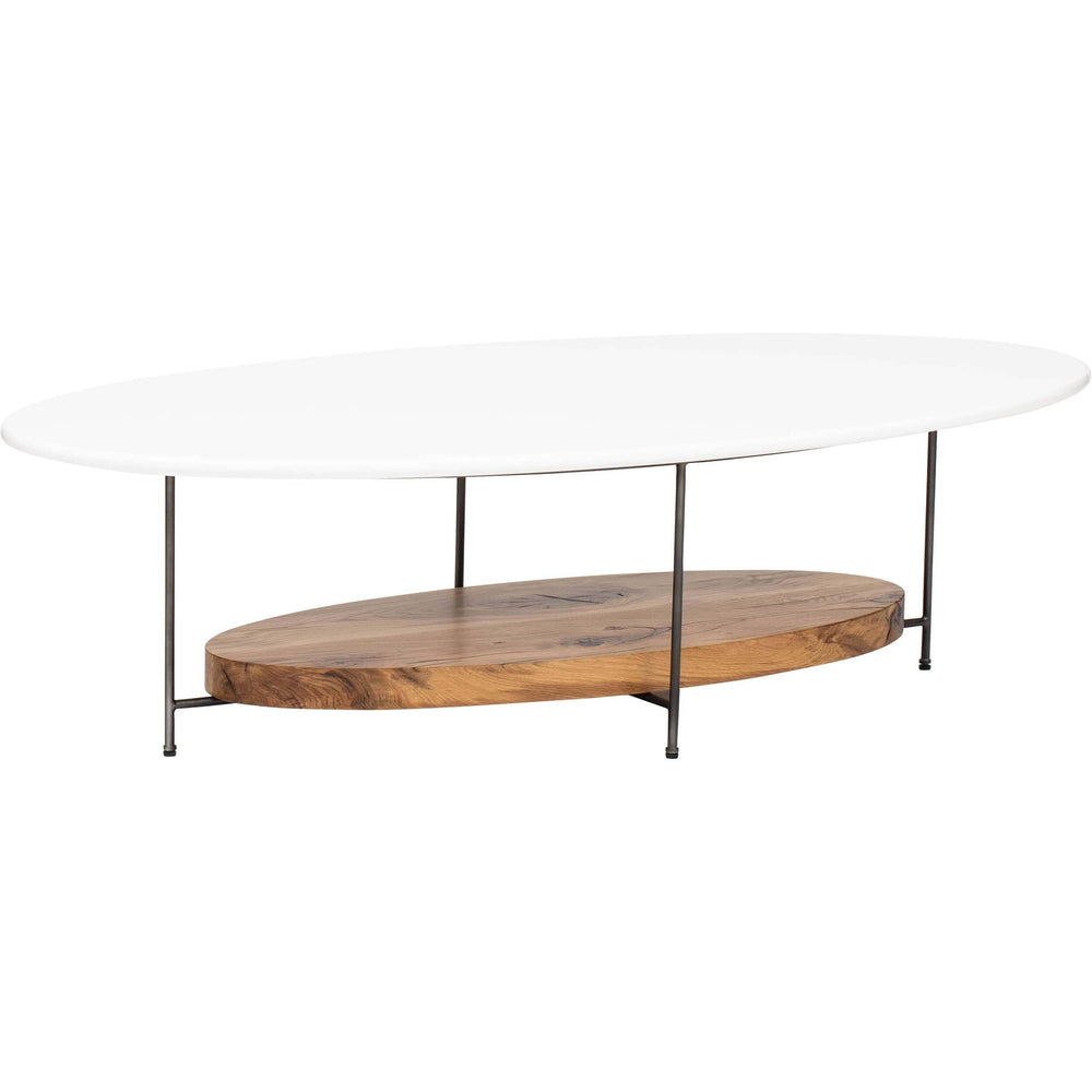 Olivia Oval Coffee Table, White - Modern Furniture - Coffee Tables - High Fashion Home