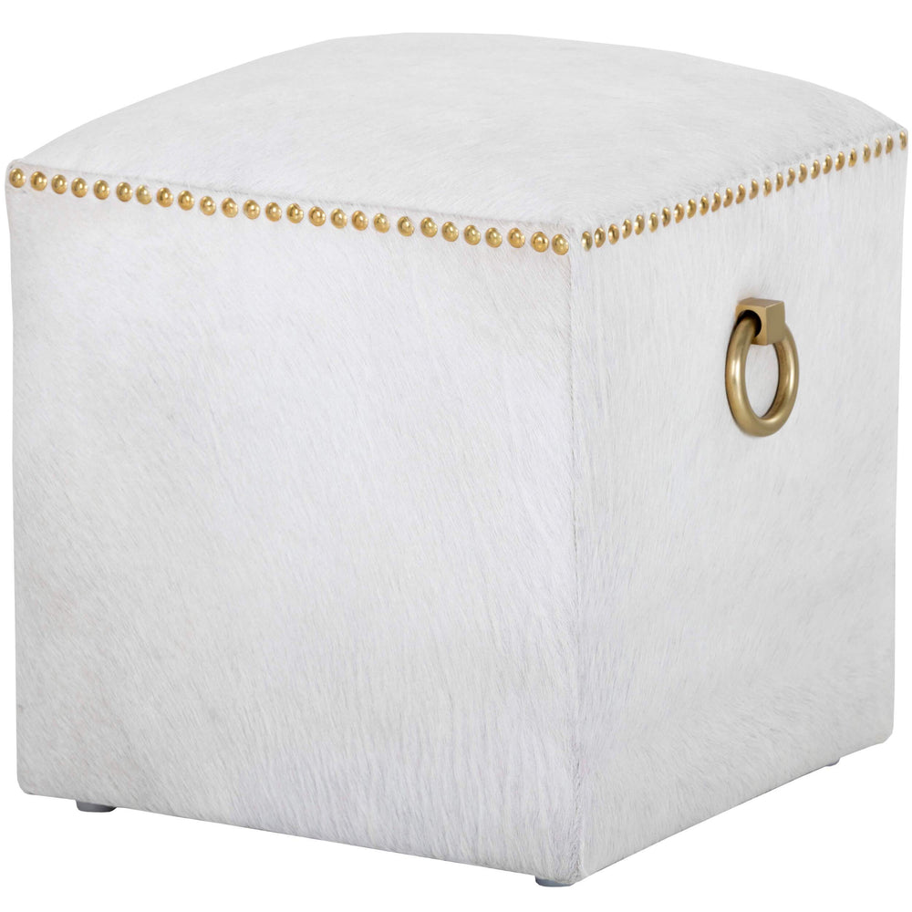 Phoebe Cowhide Ottoman, White - Furniture - Chairs - High Fashion Home