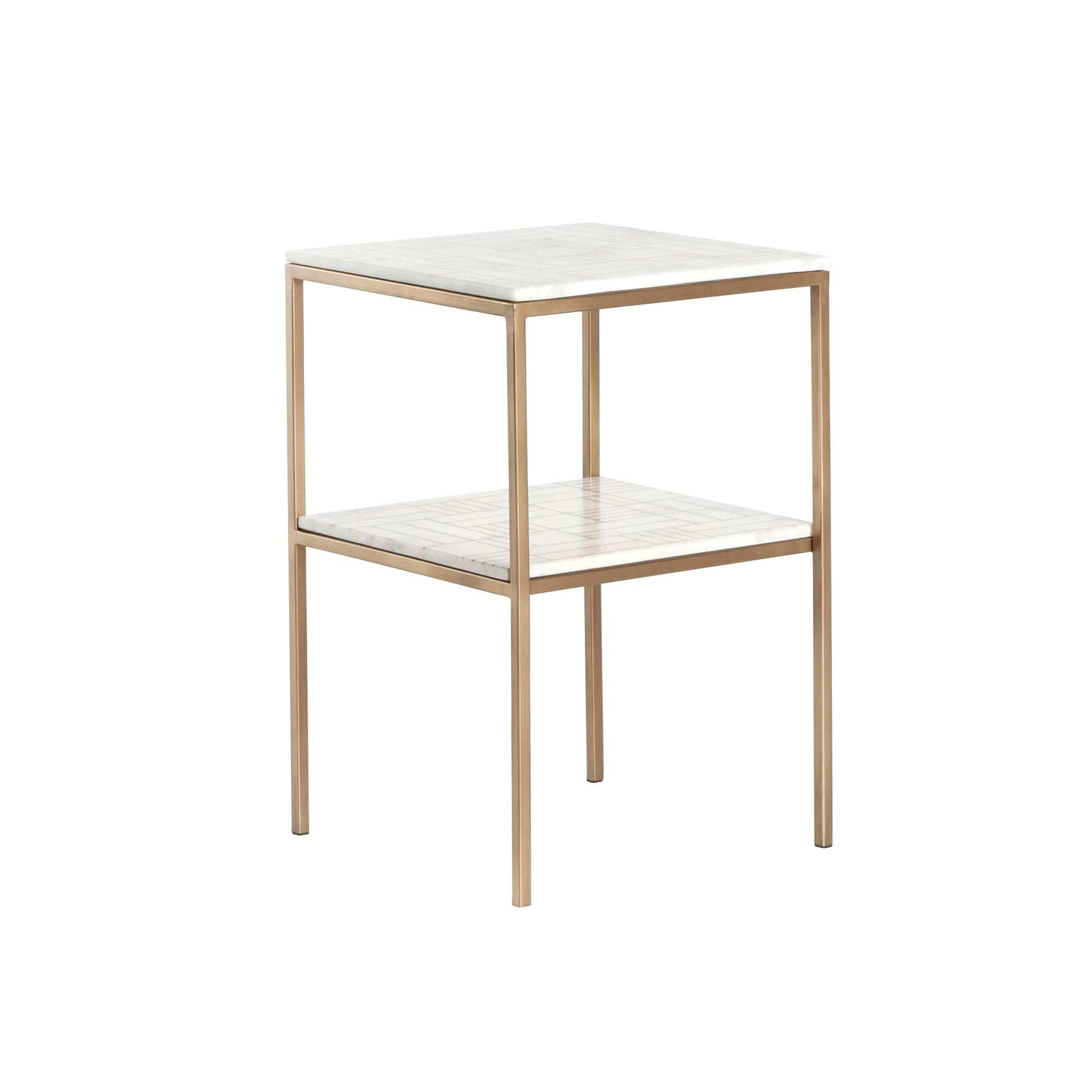 Piet Printed Marble Side Table Antique Brass High Fashion Home