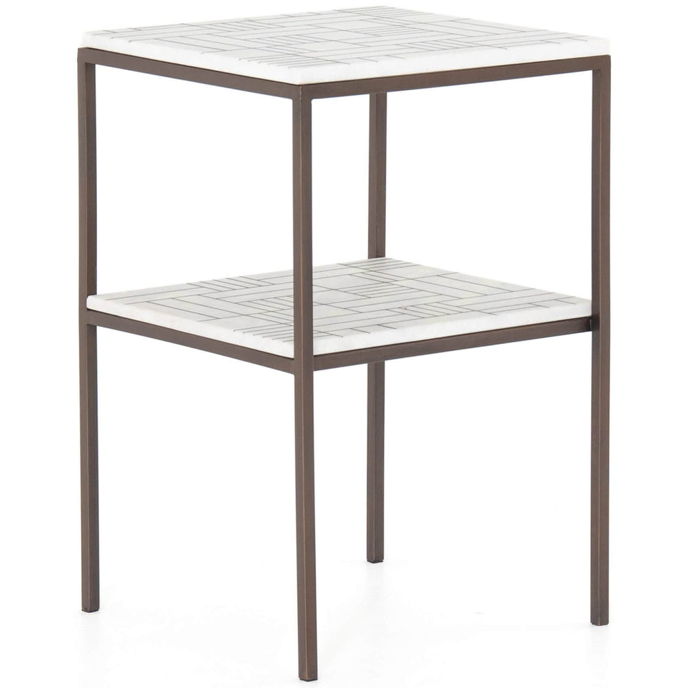 Piet Printed Marble Side Table, Bronze - Furniture - Accent Tables - High Fashion Home