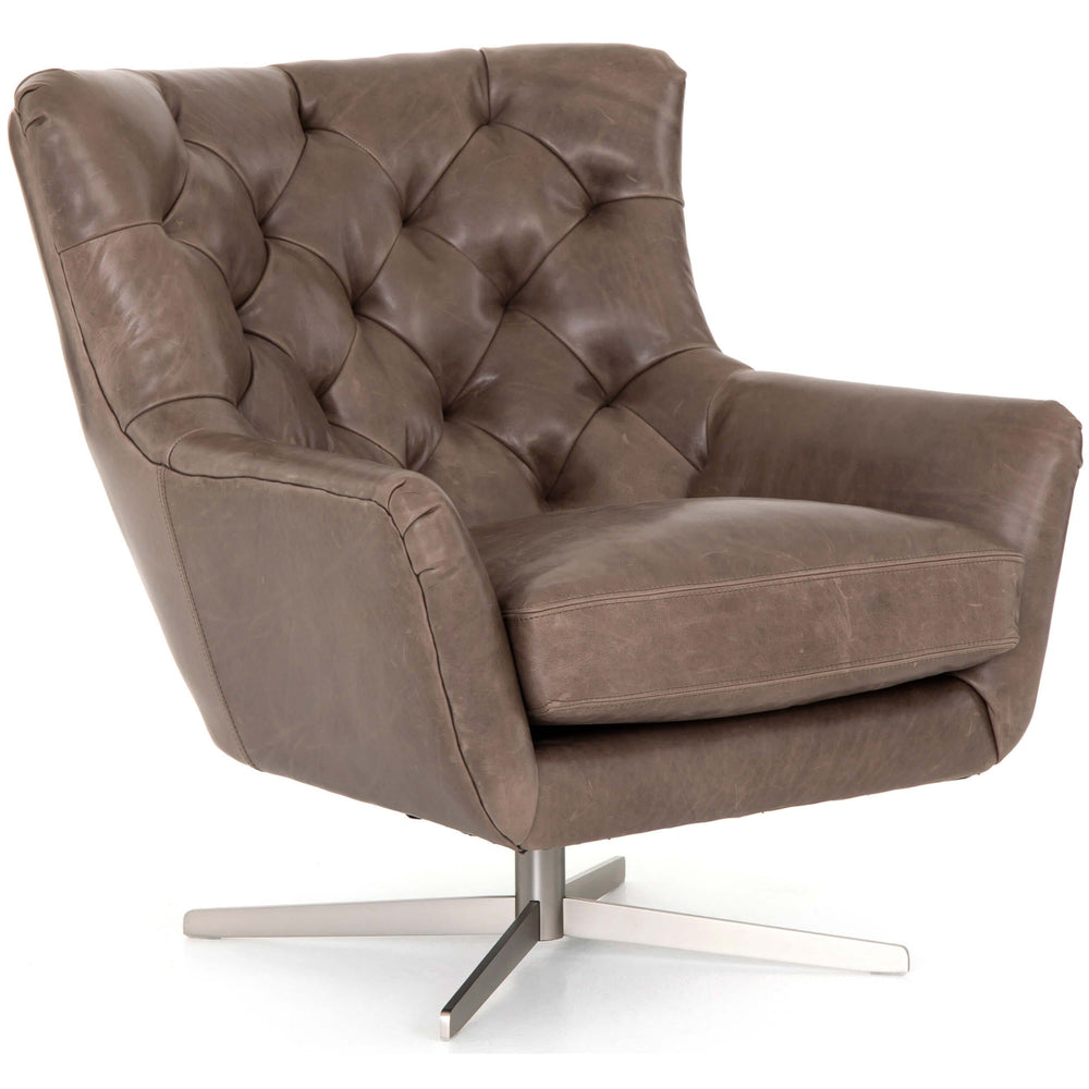 Raymond Leather Swivel Chair, Dakota Fossil - Modern Furniture - Accent Chairs - High Fashion Home