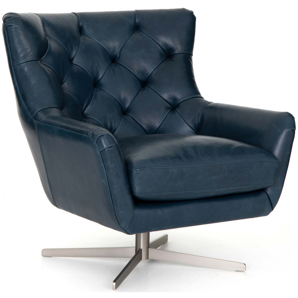 Raymond Leather Swivel Chair, Dakota Sapphire - Modern Furniture - Accent Chairs - High Fashion Home