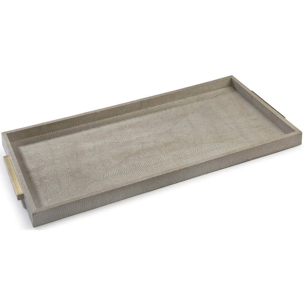 Rectangle Shagreen Tray, Ivory/Grey - Accessories - High Fashion Home