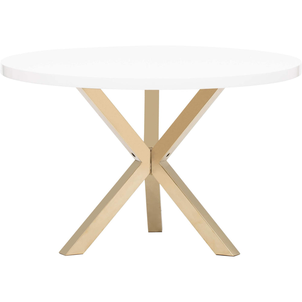 Remi Dining Table, White/Gold - Modern Furniture - Dining Table - High Fashion Home