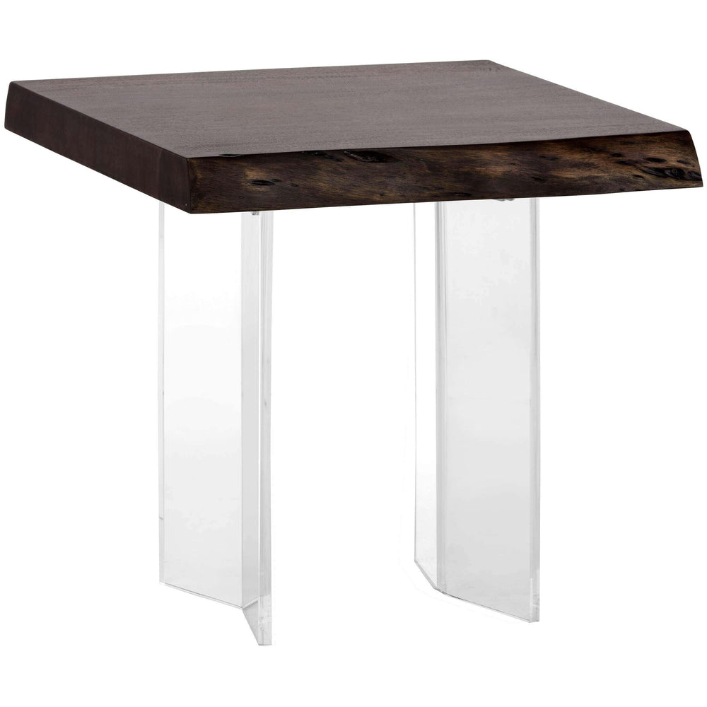 Roscoe Live Edge End Table, Acrylic, Dark Walnut - Furniture - Sunpan