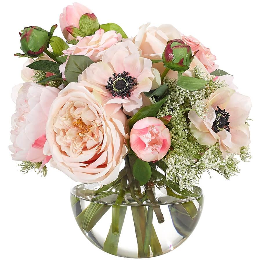 Rose, Peony, Anemone in Glass Bubble Vase