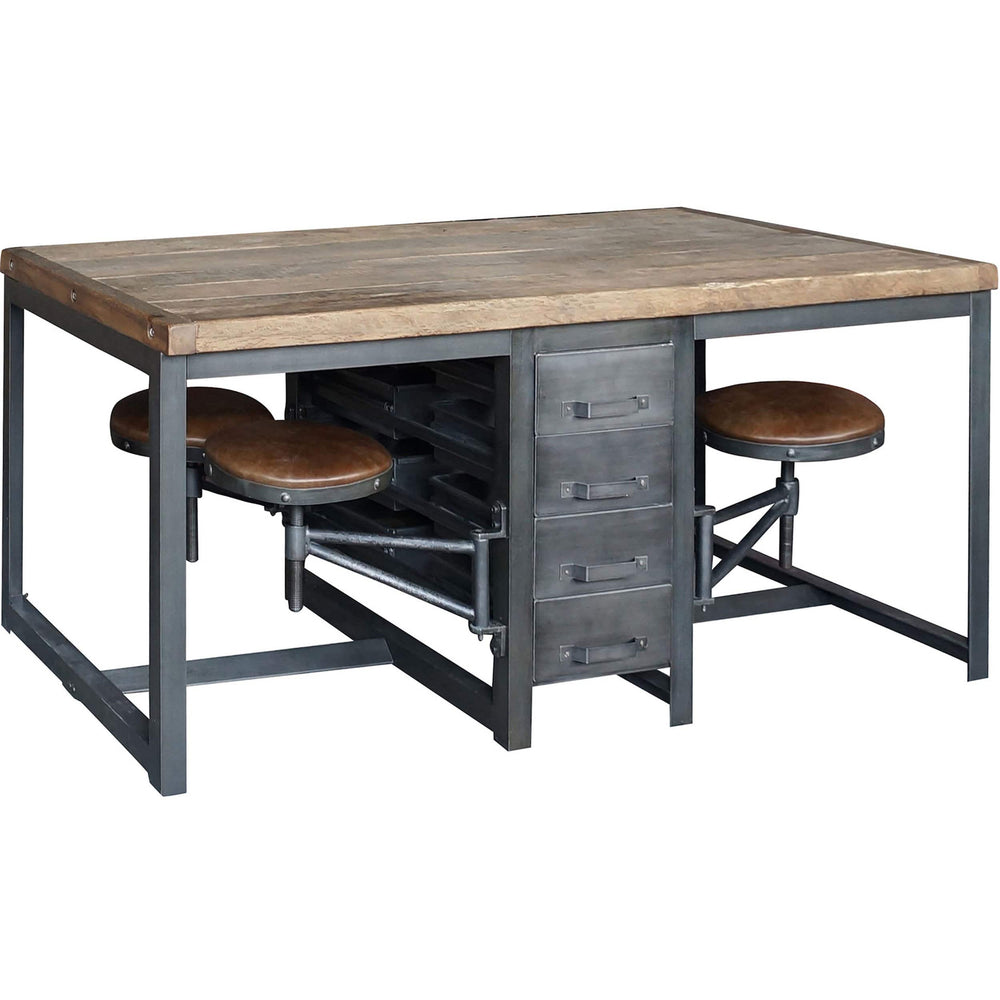 Rupert Work Table, Rustic Black - Furniture - Office - High Fashion Home