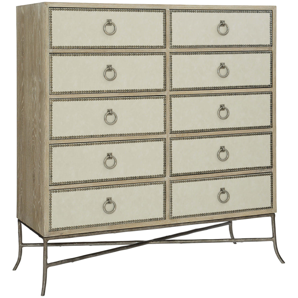 Rustic Patina Ten Drawer Tall Chest, Sand - Furniture - Storage - High Fashion Home