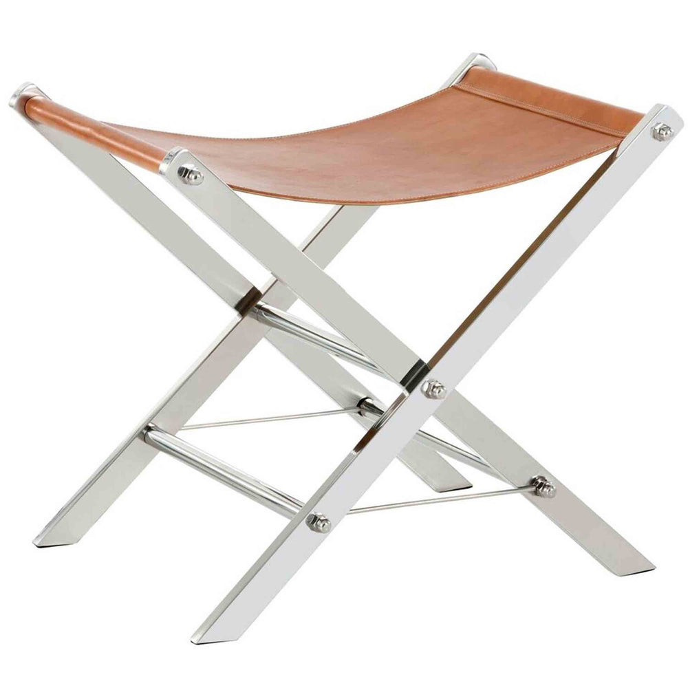 Ryder Leather Stool, Stainless Steel, Tan  - Furniture - Sunpan