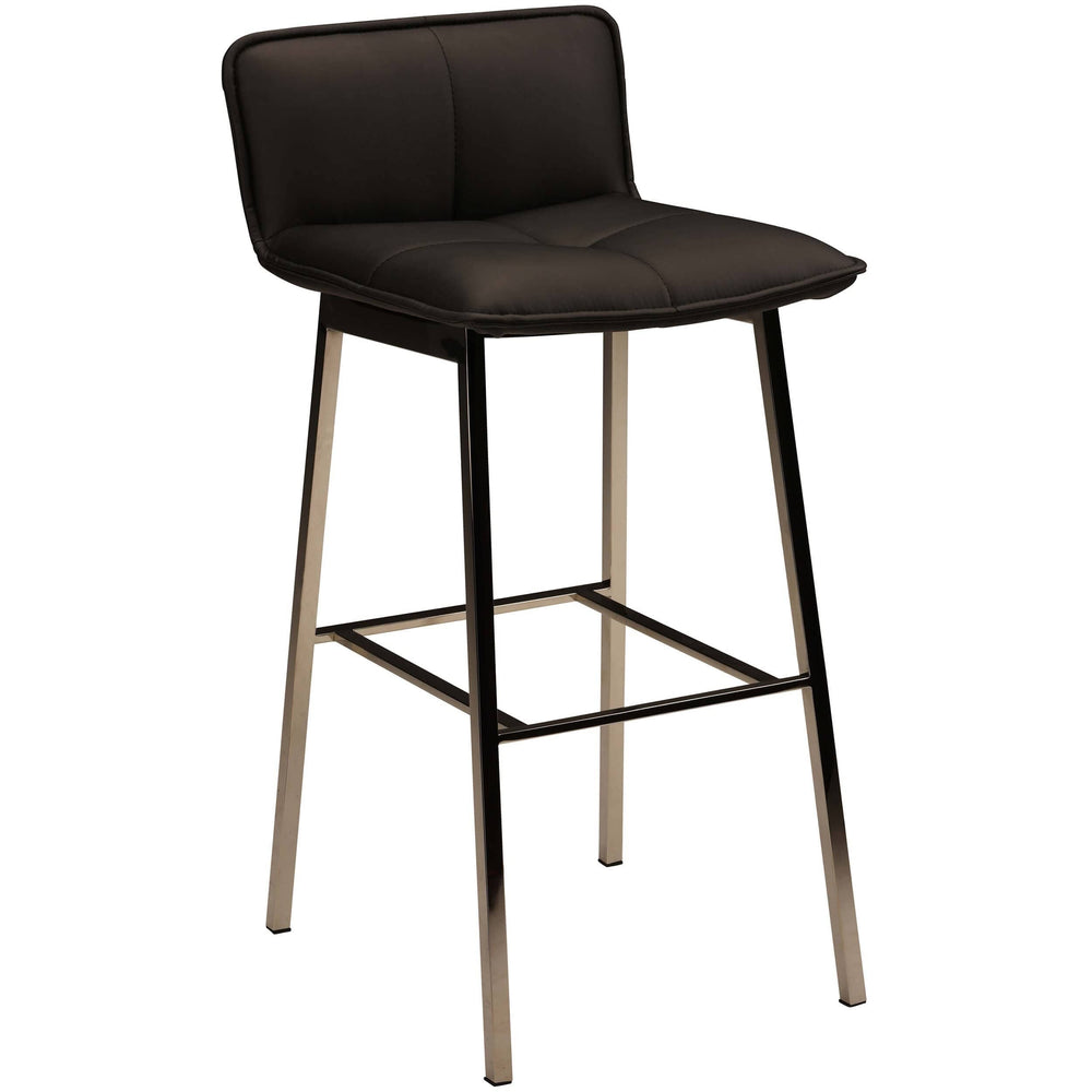 Sabrina Counter Stool, Black/Polished Stainless Legs - Furniture - Dining - High Fashion Home