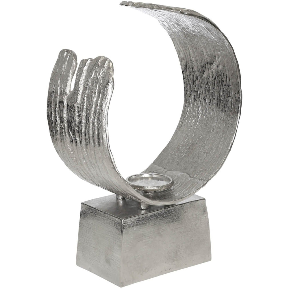 Sculptural Pillar Candle Holder, Silver - Accessories - High Fashion Home