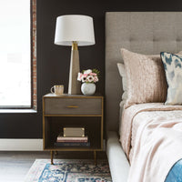 Shagreen Bedside Table, Antique Brass - Furniture - Accent Tables - High Fashion Home