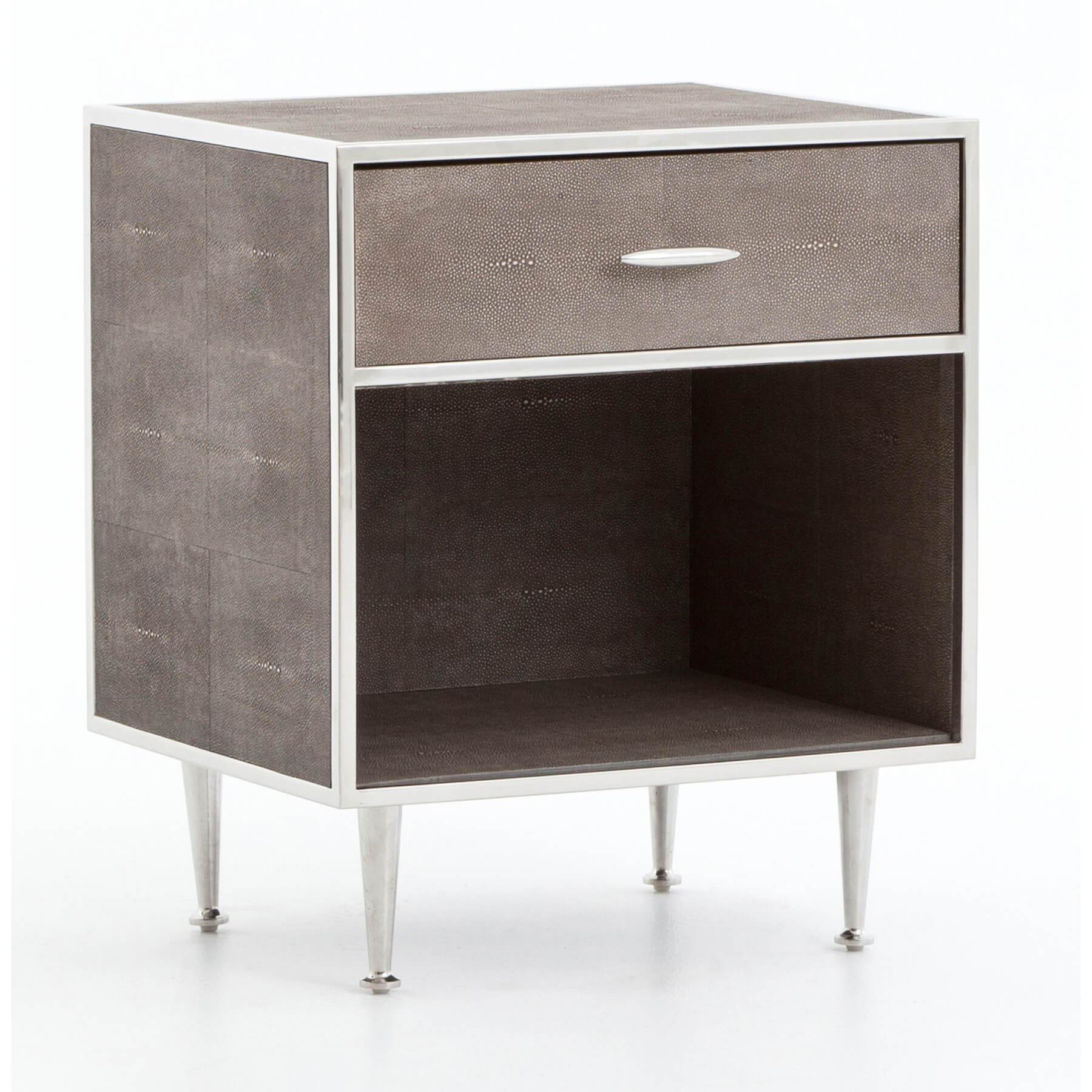 promo code 3755f d7997 Shagreen Bedside Table, Stainless – High Fashion Home