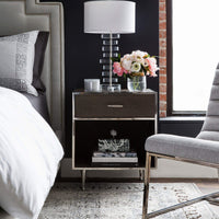 Shagreen Bedside Table, Stainless - Furniture - Accent Tables - High Fashion Home