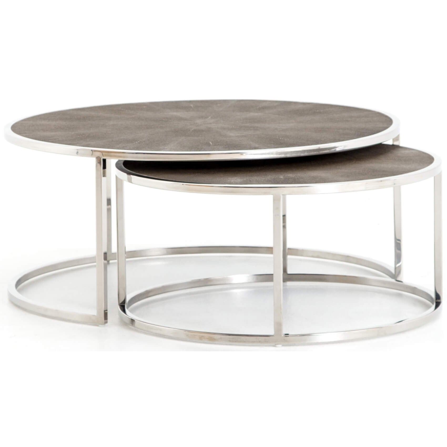 Wondrous Shagreen Nesting Coffee Table Stainless Steel High Caraccident5 Cool Chair Designs And Ideas Caraccident5Info