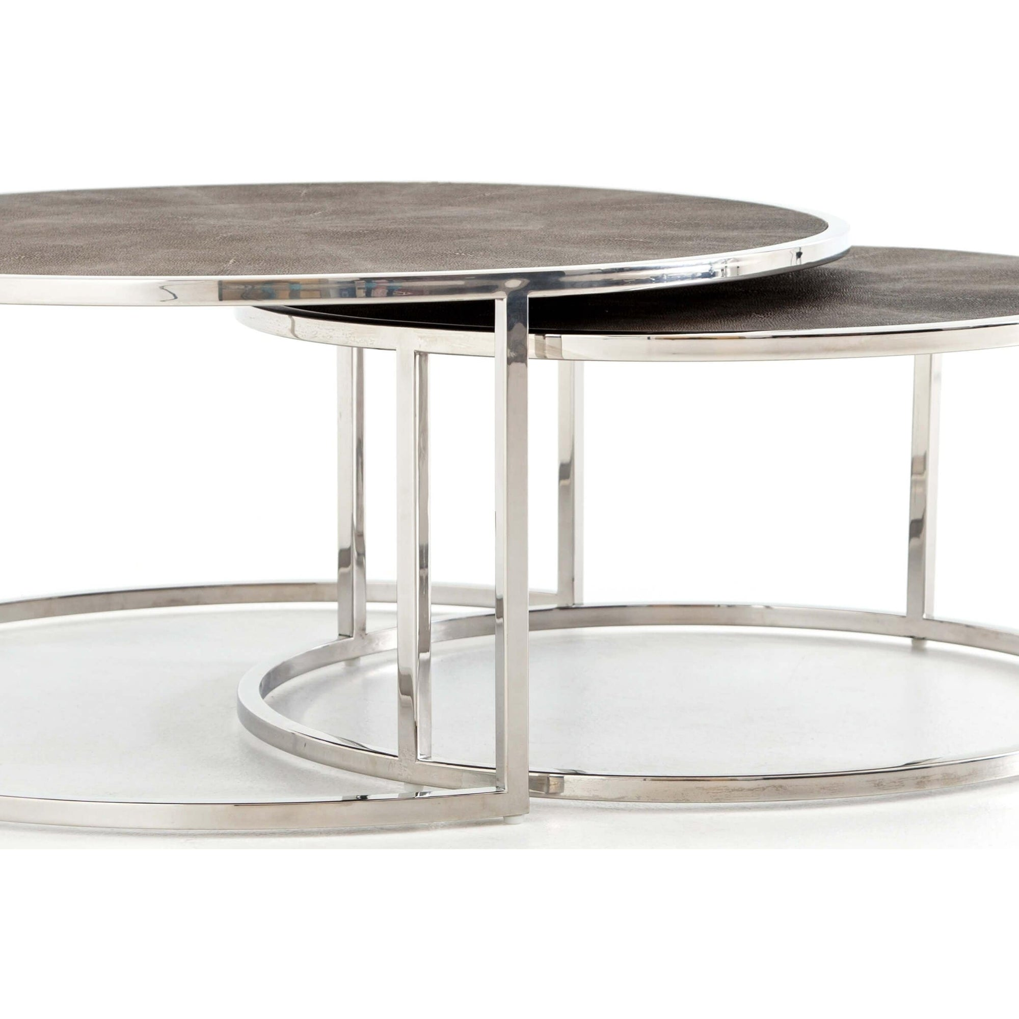 Shagreen Nesting Coffee Table, Stainless Steel - High ...