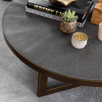 Shagreen Round Coffee Table, Antique Brass - Modern Furniture - Coffee Tables - High Fashion Home