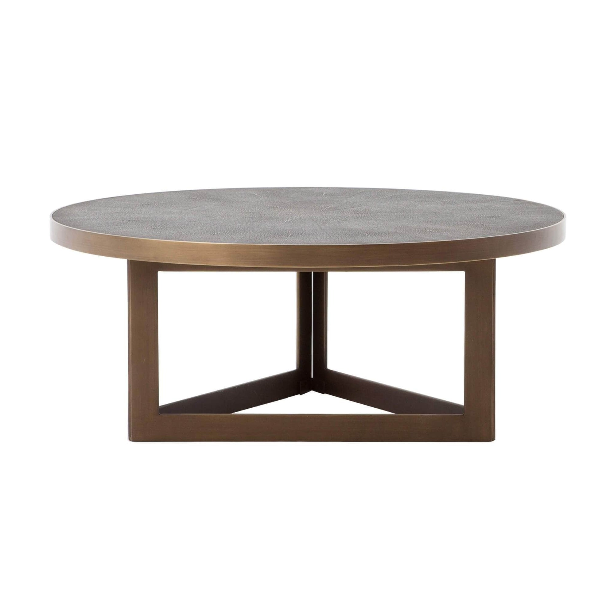 Shagreen Round Coffee Table Antique Brass High Fashion Home
