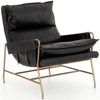 Taryn Leather Chair, Sonoma Black - Modern Furniture - Accent Chairs - High Fashion Home