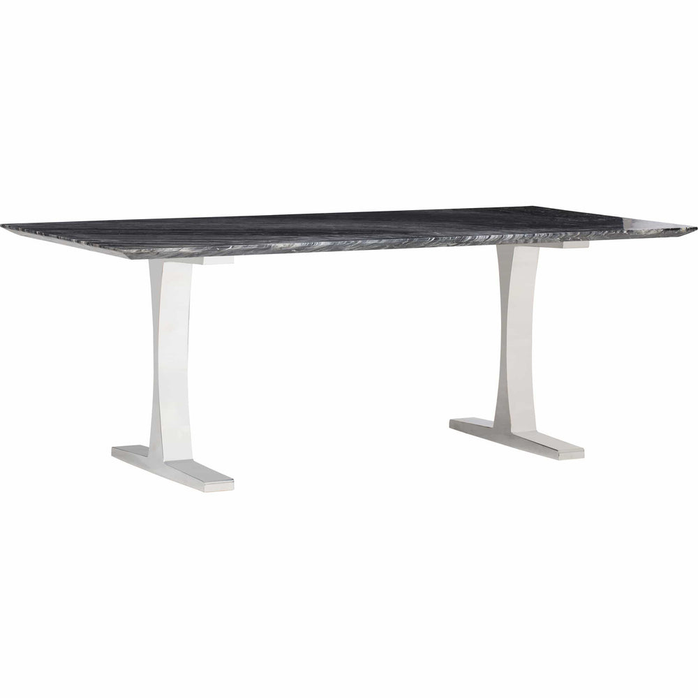 Toulouse Dining Table, Black Marble/Polished Stainless Base - Modern Furniture - Dining Table - High Fashion Home