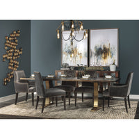 Toulouse Dining Table, Seared Oak/Brushed Gold Base - Modern Furniture - Dining Table - High Fashion Home