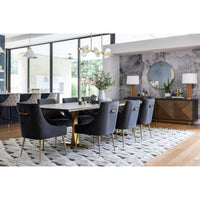 Toulouse Dining Table, Brushed Gold