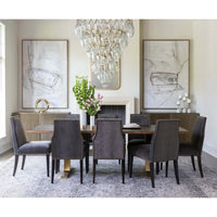 Oliver Side Chair, Valhalla Pewter, Brass Nailheads - Furniture - Dining - Chairs & Benches