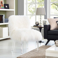 Sonnie Sheepskin Chair, White - Modern Furniture - Accent Chairs - High Fashion Home