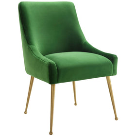 Beatrix Side Chair, Green/Brushed Gold Base