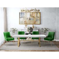 Beatrix Side Chair, Green/Brushed Gold Base  - Furniture - Dining - Chairs & Benches
