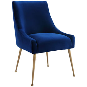 Beatrix Side Chair, Navy/Brushed Gold Base