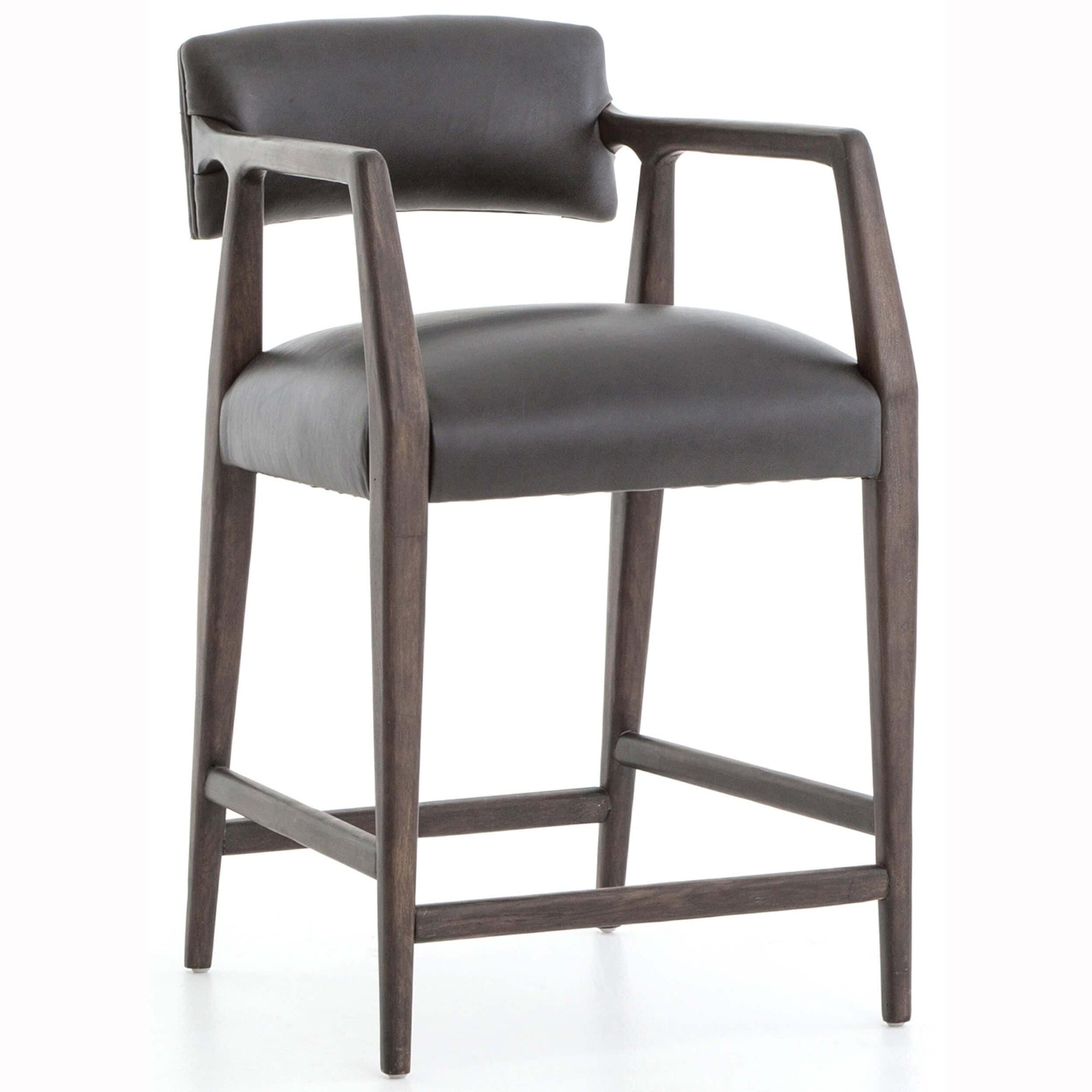 Swell Tyler Leather Counter Stool Chaps Ebony High Fashion Home Caraccident5 Cool Chair Designs And Ideas Caraccident5Info