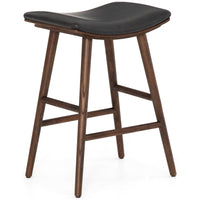 Union Saddle Counter Stool, Distressed Black - Furniture - Chairs - High Fashion Home
