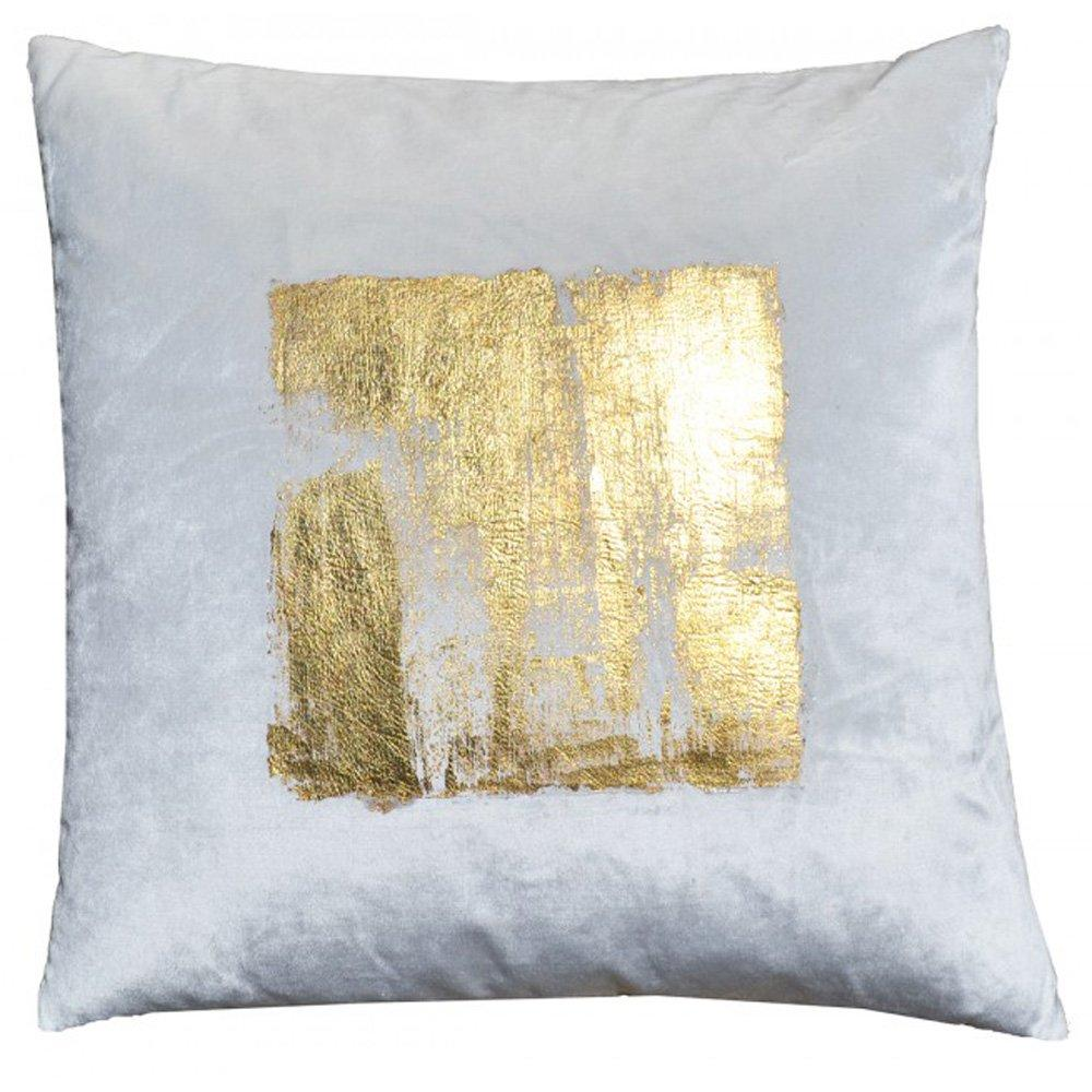 Cloud 9 Verona Gold Foil Square Velvet Pillow, Ivory - Accessories - Pillows