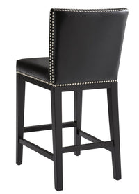 Vintage Leather Counter Stool, Black - Furniture - Sunpan