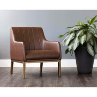 Wolfe Lounge Chair, Vintage Cognac - Modern Furniture - Accent Chairs - High Fashion Home