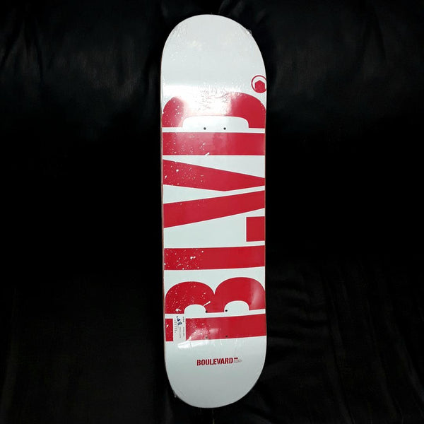 BLVD Boulevard Logo White Red Team Pro Deck 8.5