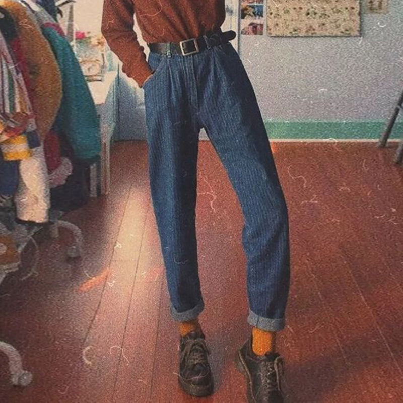 Casual striped vintage jeans