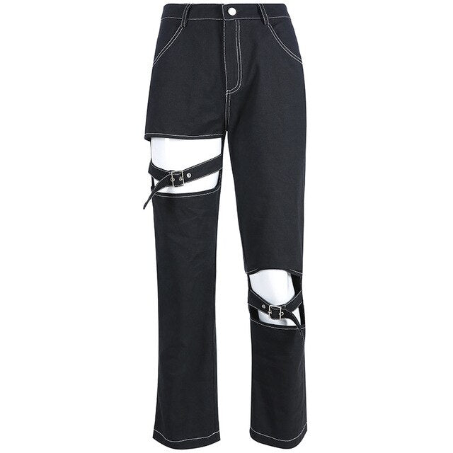 Black half Ripped Polyster pants