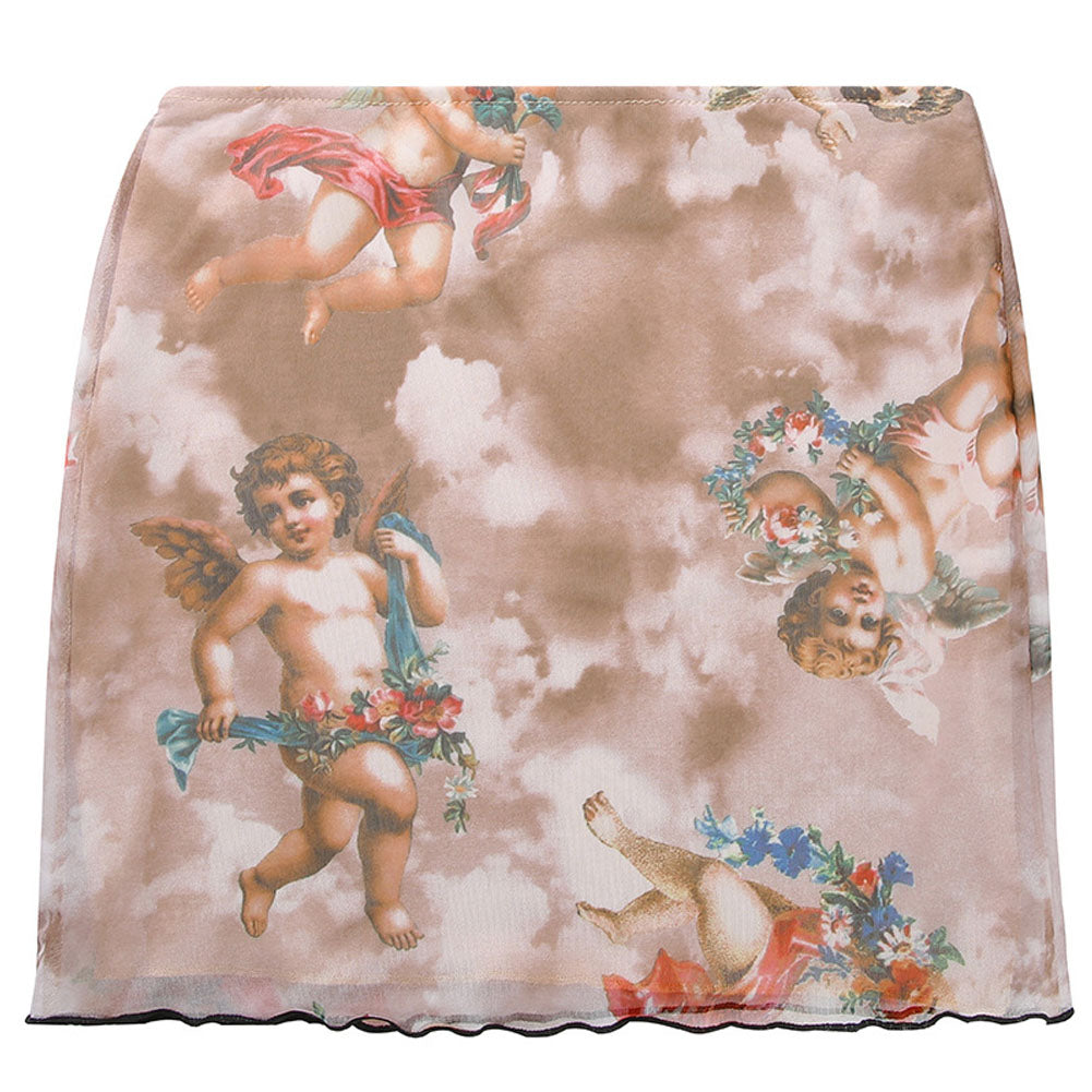 Gold brown angels printed skirts