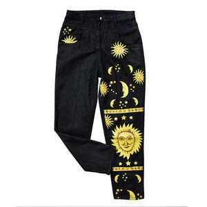 Moon Star Print Casual Pants