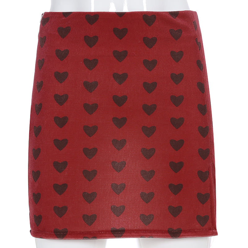 Red heart pattern skirts