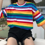Rainbow with with white strips t shirt