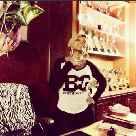 R&B songstress Mary J. Blige wearing Birthday Girl