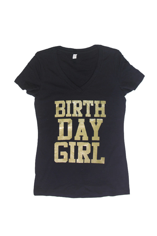 Gold - Gold Birthday Girl V-Neck