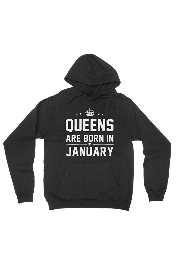 Print Aura - Queens Are Born In January Pullover Hoodie