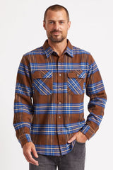 Brixton Bowery LS Crossover Flannel Men Washed Brown/Mineral Blue