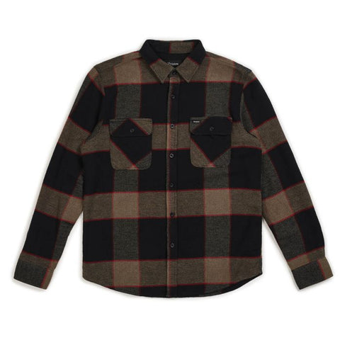 Brixton Bowery LS Flannel Men Heather Grey-Charcoal